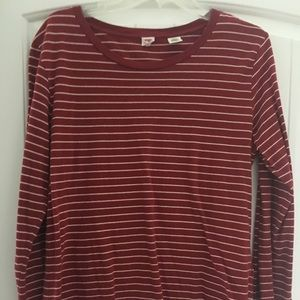 Levi's ladies large red and white striped shirt.